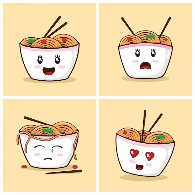 Ramen noodles cute cartoon com emoções Vetor Premium