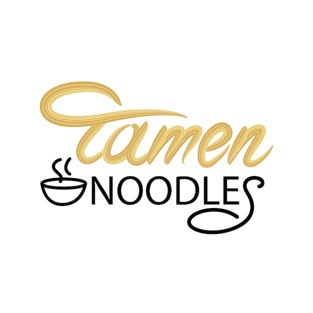 Ramen noodles lettering design Vetor Premium