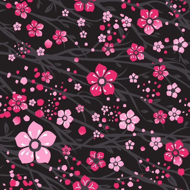 Ramo da cereja de sakura japão com flores de florescência. Vetor Premium