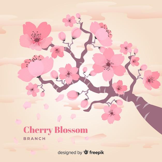 Ramo de flor de cerejeira Vetor grátis