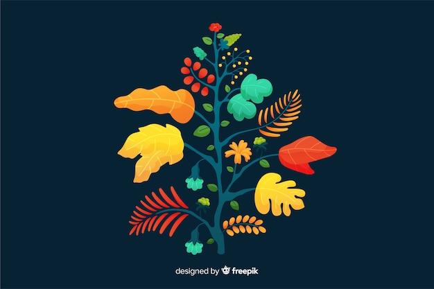Ramo floral colorido design plano Vetor grátis