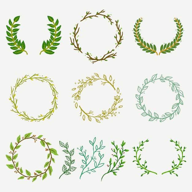 Ramo natural e folhas florista conjunto de logotipo Vetor Premium