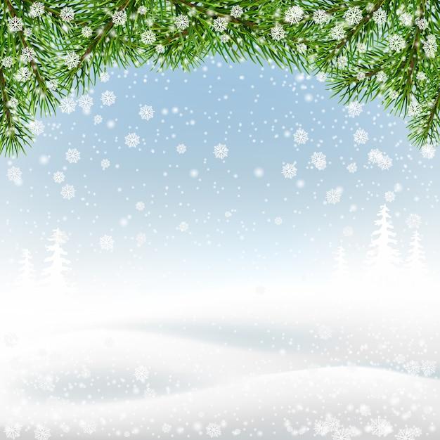 Ramos de abeto na paisagem de inverno. fundo de natal. Vetor Premium
