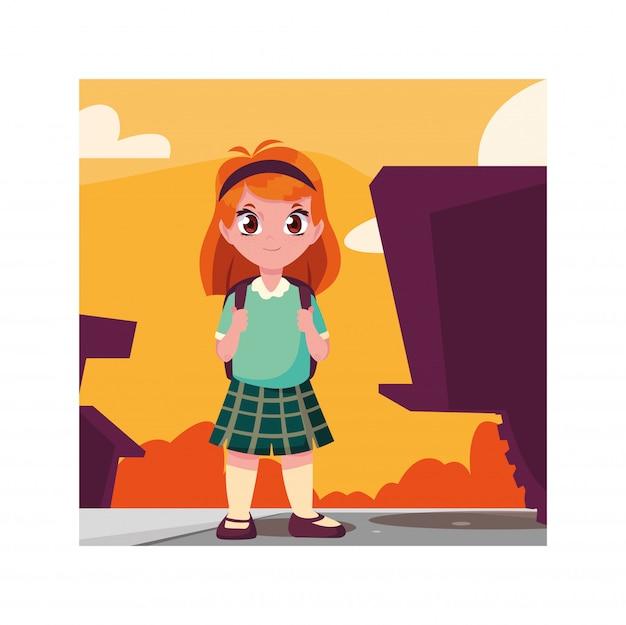 Rapariga estudante com mala de escola, volta às aulas Vetor Premium