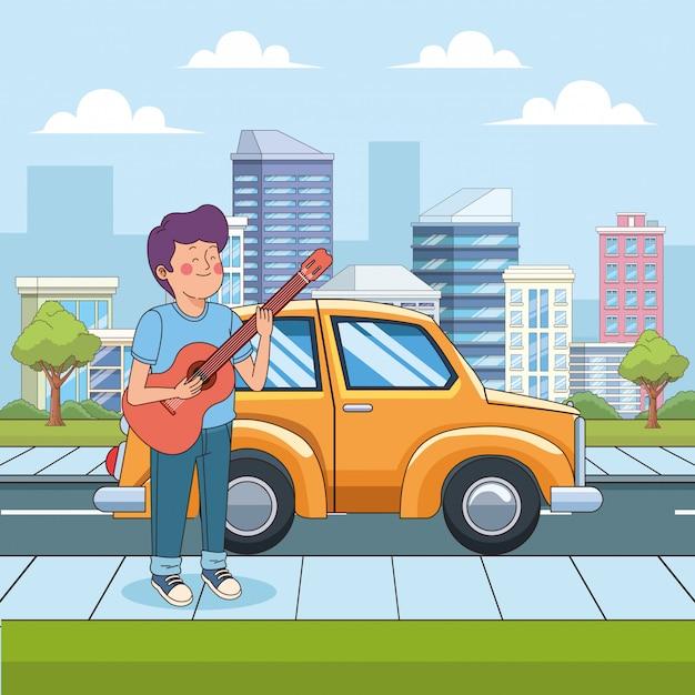 Rapaz adolescente dos desenhos animados, tocando violão na rua Vetor Premium