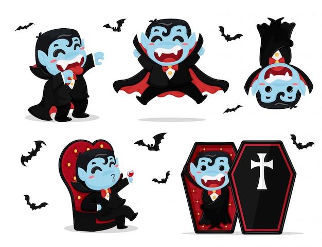 Rapaz bonito dos desenhos animados, vestindo traje drácula estão curtindo a festa no halloween. Vetor Premium