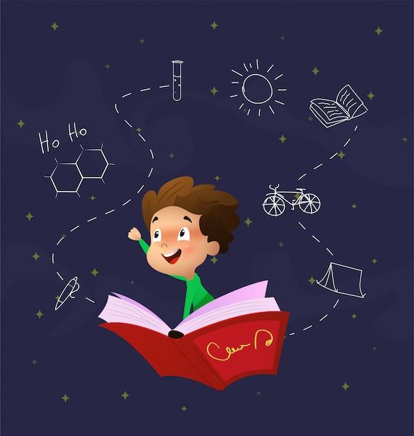 Rapaz bonito dos desenhos animados voar através do céu noturno, montando no livro Vetor Premium