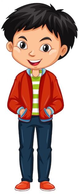 Rapaz de casaco vermelho Vetor grátis
