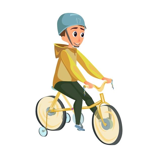 Rapaz dos desenhos animados na bicicleta de roda de treinamento de passeio de capacete Vetor Premium