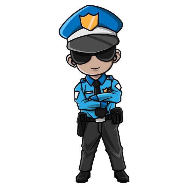 Rapaz Dos Desenhos Animados Vestindo Fantasia De Policia Vetor