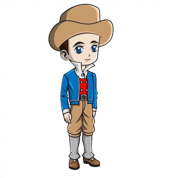 Rapaz dos desenhos animados, vestindo traje de frança Vetor Premium