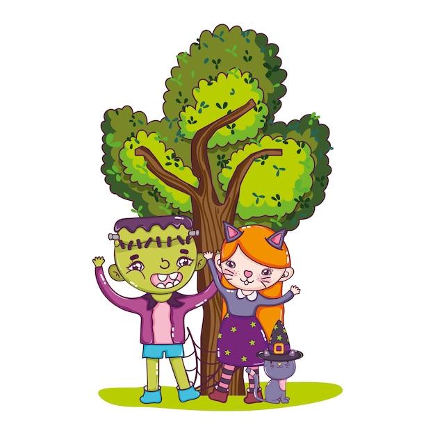 Rapaz e rapariga fantasia com gato e árvore Vetor Premium