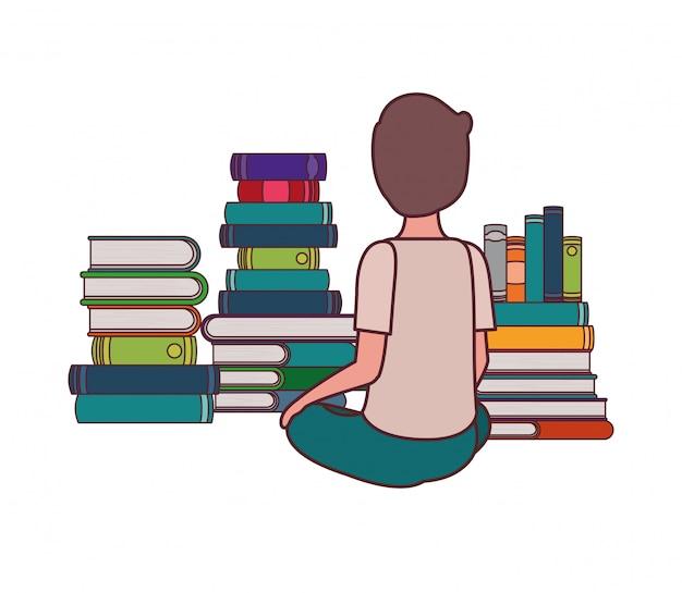 Rapaz estudante sentado de costas com pilha de livros Vetor grátis