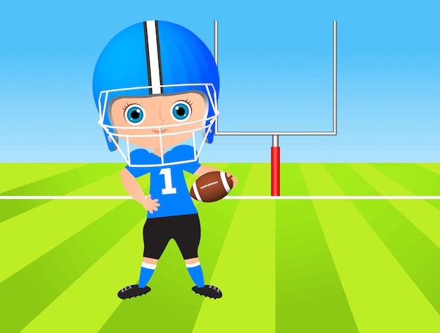 Rapaz jovem. garoto jogando futebol americano. Vetor Premium