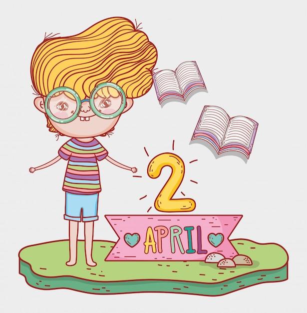 Rapaz ler livro de literatura para o evento do dia Vetor Premium