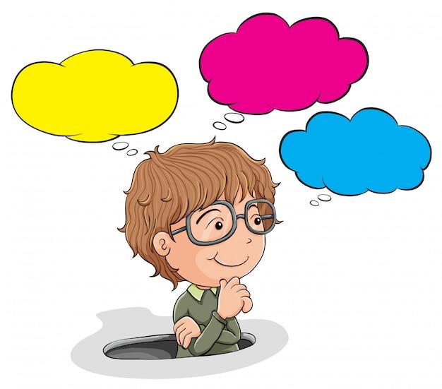Rapaz nerd com balão de fala Vetor grátis