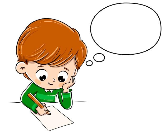 Rapaz pensando enquanto escrevia algo em um papel Vetor Premium