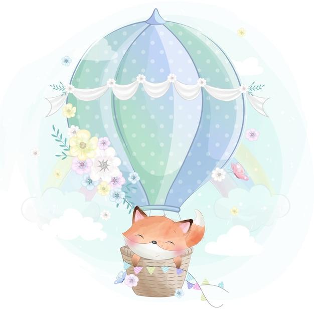 Rapaz pequeno bonito no balão de ar Vetor Premium