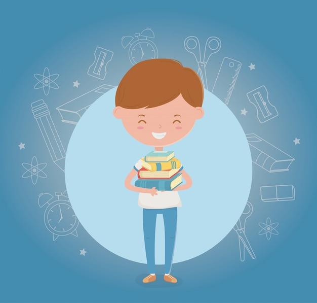 Rapaz pequeno estudante com material escolar Vetor grátis