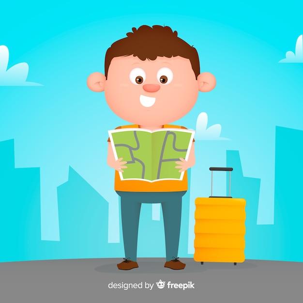Rapaz plano viajando fundo Vetor grátis