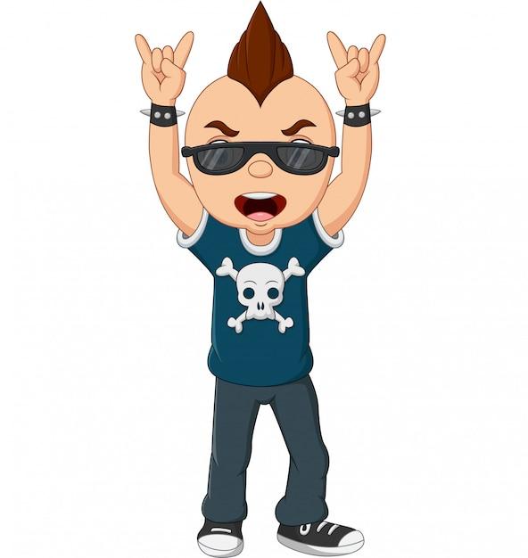 Rapaz punk dos desenhos animados com moicano e óculos de sol Vetor Premium