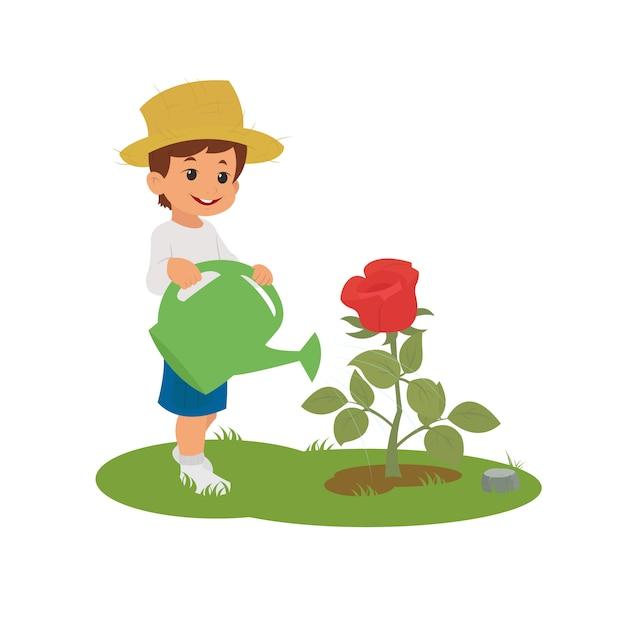Rapaz, regando a flor. Vetor Premium