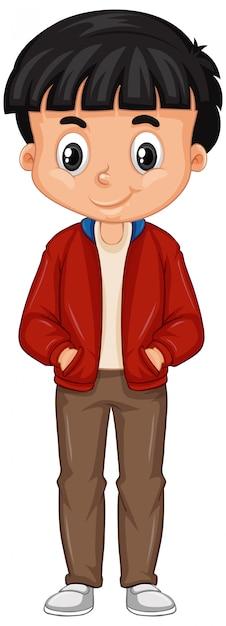 Rapaz vestindo jaqueta vermelha em fundo branco Vetor grátis