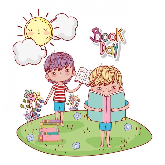 Rapazes com livro de educação e sol com nuvens Vetor Premium