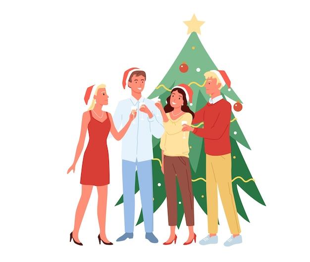 Rapazes e moças se divertindo juntos, festa de natal, bebem champanhe em chapéus de natal Vetor Premium