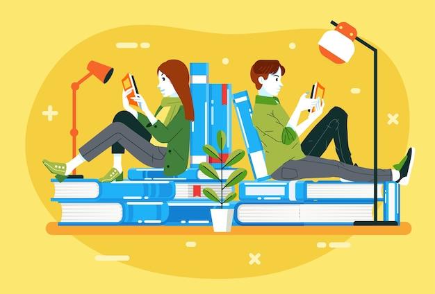 Rapazes e mulheres lendo um livro enquanto sentavam na pilha de livros, ilustração para o dia internacional da alfabetização. usado para pôster, imagem da web e outros Vetor Premium