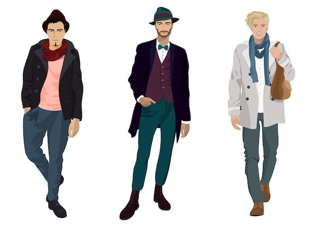 Rapazes jovens bonitos na moda e roupas casuais isoladas. Vetor Premium