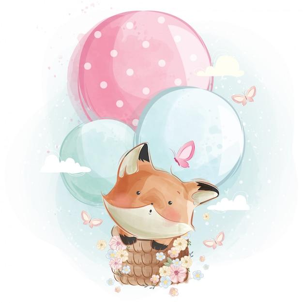 Raposa bonita voando com balões Vetor Premium