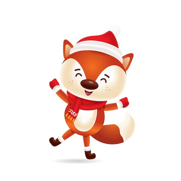 Raposa bonitinha dançando com gorro vermelho e lenço vermelho Vetor Premium