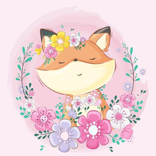 Raposa bonito com desenhos animados de flor Vetor Premium