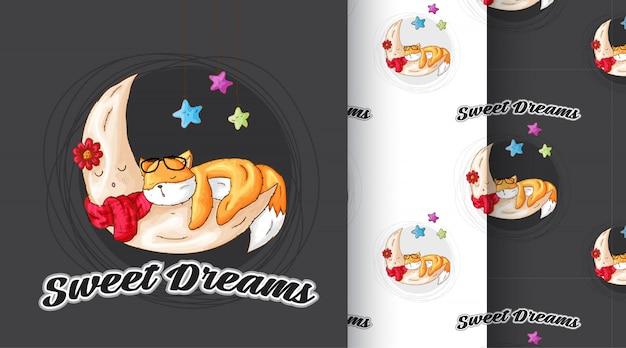 Raposa bonito dormindo padrão ilustração Vetor Premium