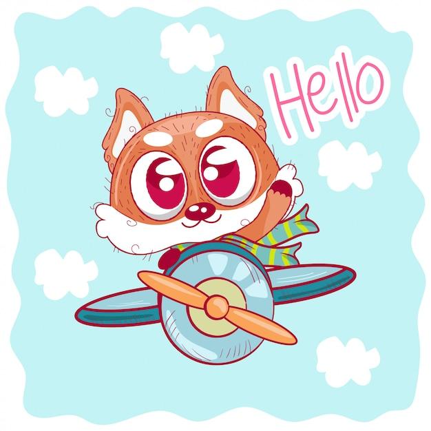 Raposa bonito dos desenhos animados está voando em um avião Vetor Premium