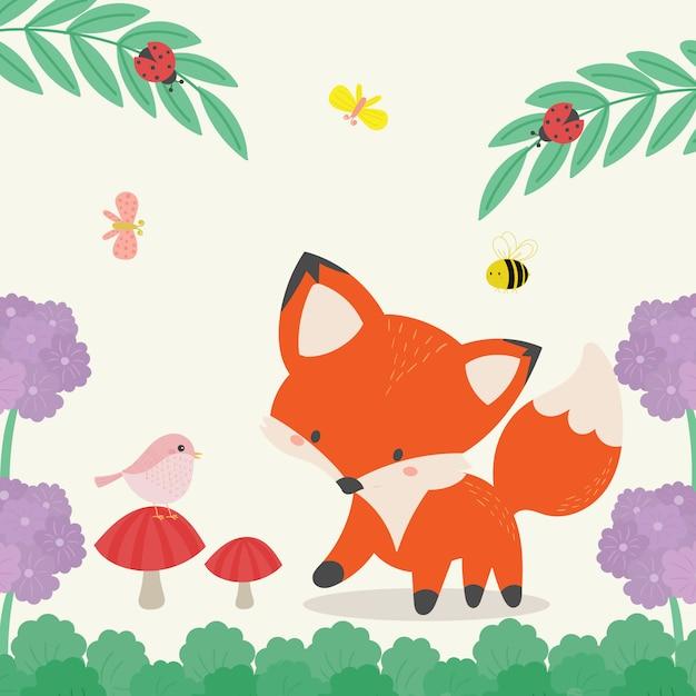 Raposa bonito na ilustração selvagem. arte desenhada de mão Vetor Premium