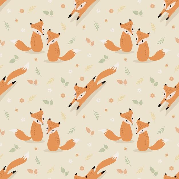 Raposa bonito no outono sem costura padrão vector. Vetor Premium