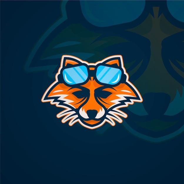 Raposa com logotipo de mascote de óculos Vetor grátis