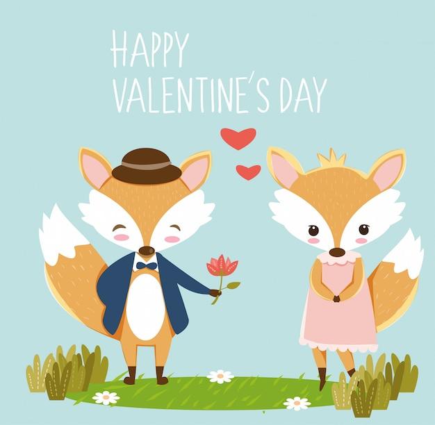 Raposa romântica para cartão de dia dos namorados Vetor Premium