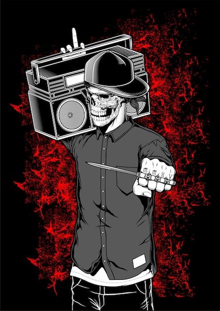 Rapper esqueleto segurando ilustração em vetor boombox Vetor Premium