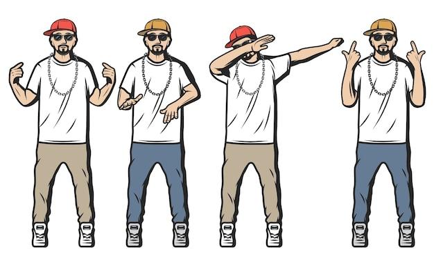 Rappers coloridos vintage com caras barbudos vestidos ao estilo hip hop e mostrando diferentes gestos de rap isolados Vetor grátis