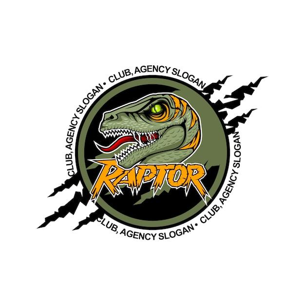 Raptor assustador no centro com a boca aberta. modelo de logotipo da equipe. Vetor Premium