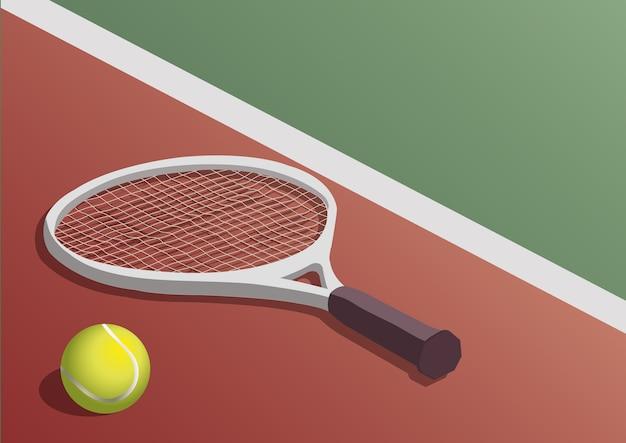 dcf7d1e2aa Raquete de tênis e bola na quadra Vetor Premium
