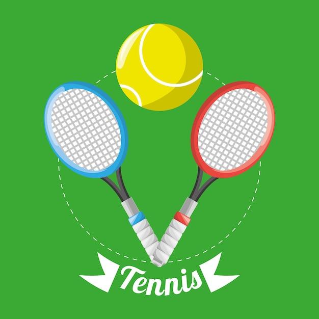 2f9a90287 raquete e bola para a competição de jogos de tênis Vetor Premium