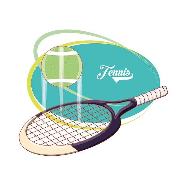 8b6017223 raquete e bola para jogar esporte de tênis Vetor Premium