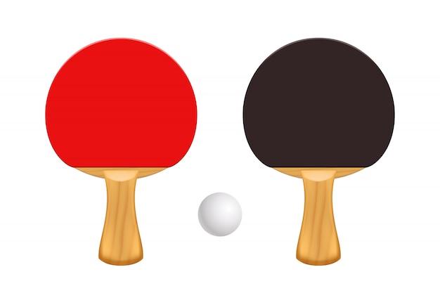 Raquetes de ping pong isoladas Vetor Premium
