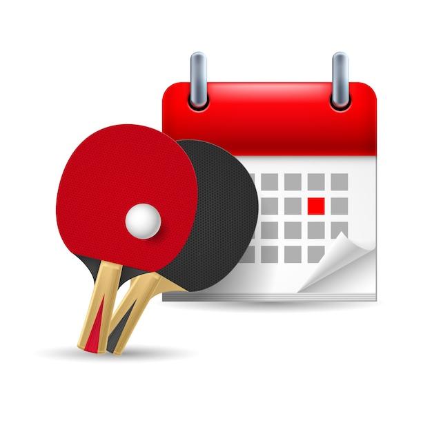 Raquetes de pingue-pongue e calendário Vetor Premium