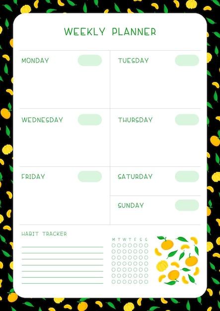 Rastreador de calendário e hábito da semana com mandarins e folhas modelo de vetor plana. página em branco do organizador de tarefas pessoais para planejador com moldura de frutas em fundo preto. Vetor grátis