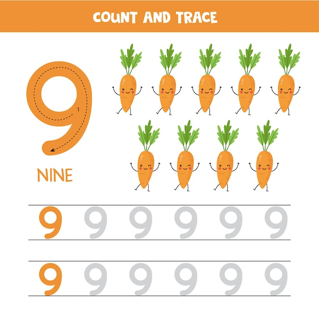 Rastreamento de planilha de números. número nove com cenouras kawaii bonito. Vetor Premium